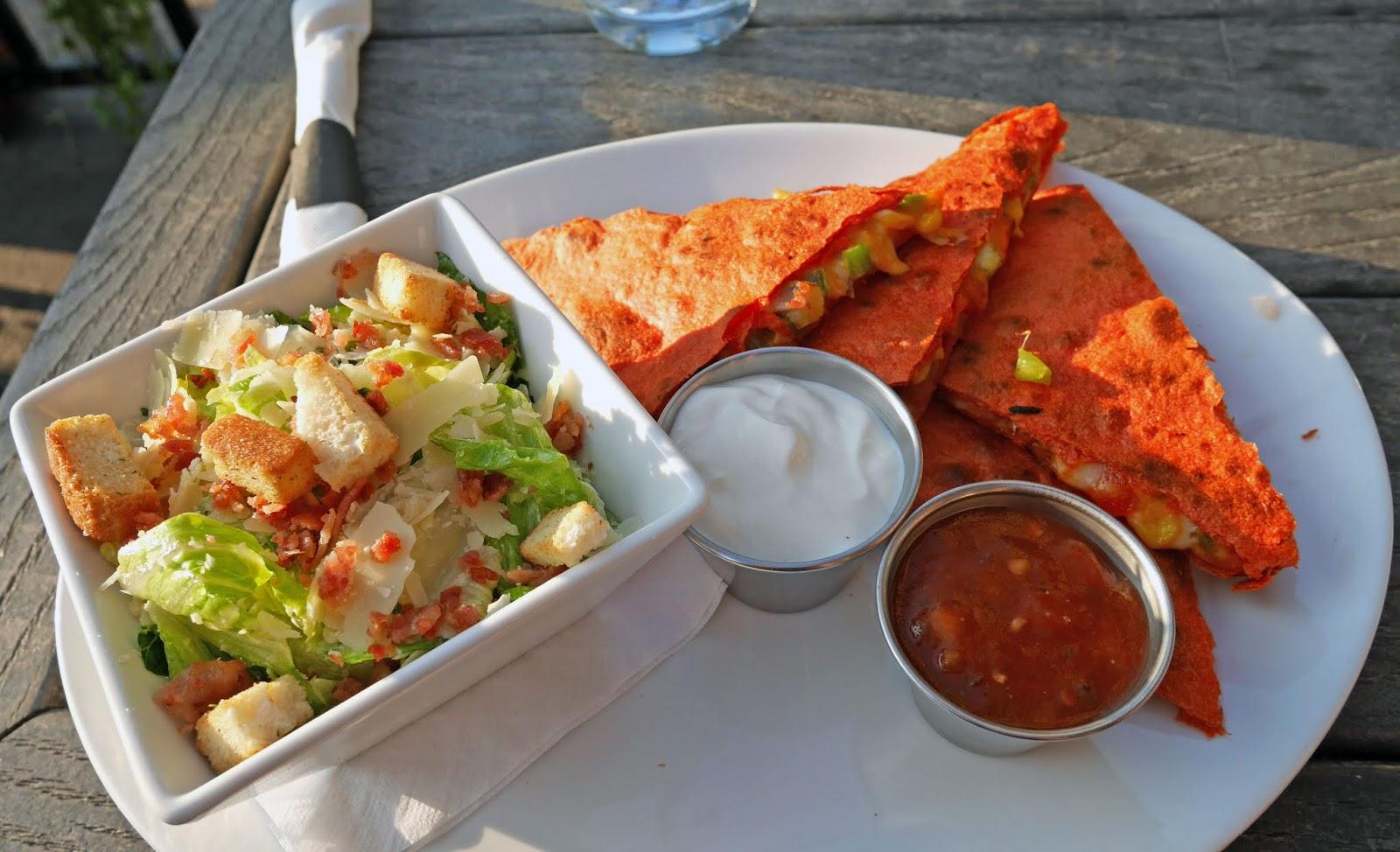 Vegetarian quesadillas for dinner at 4th Spot Kitchen and Bar, Calgary