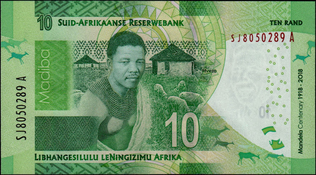 South African Currency 10 Rand Commemorative banknote 2018 Nelson Mandela 100th birthday