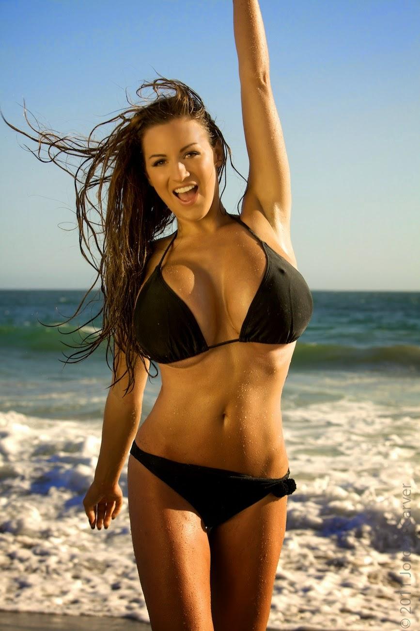 Jordan Carver Beach Surf In Black Bikini Show Big Boobs -1613