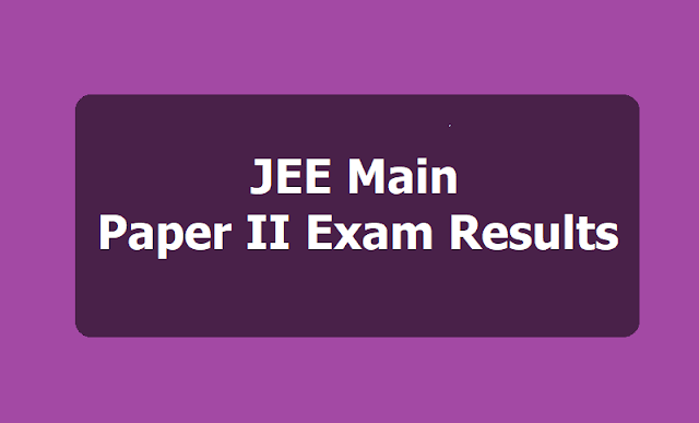 JEE Main Paper II Exam Results