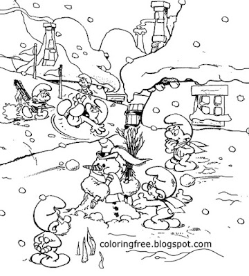 Frozen township Smurf house in winter snow colouring pages for free kids craft activities to print