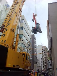 Construction in Yanagibashi, Taito-ku, Tokyo, Japan.