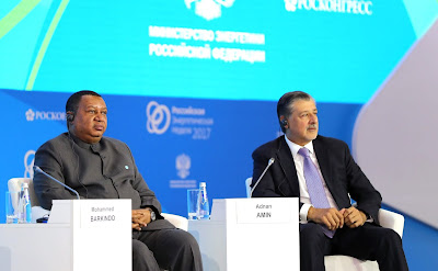 OPEC Secretary General Mohammed Sanusi Barkindo and Director General of the International Renewable Energy Agency (IRENA) Adnan Z. Amin during the Energy for Global Growth plenary session at the first Russian Energy Week Energy Efficiency and Energy Development International Forum.