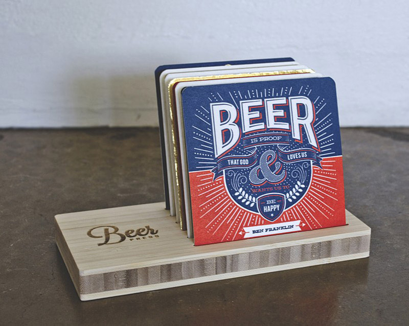 Letterpress Beer Quote Coasters