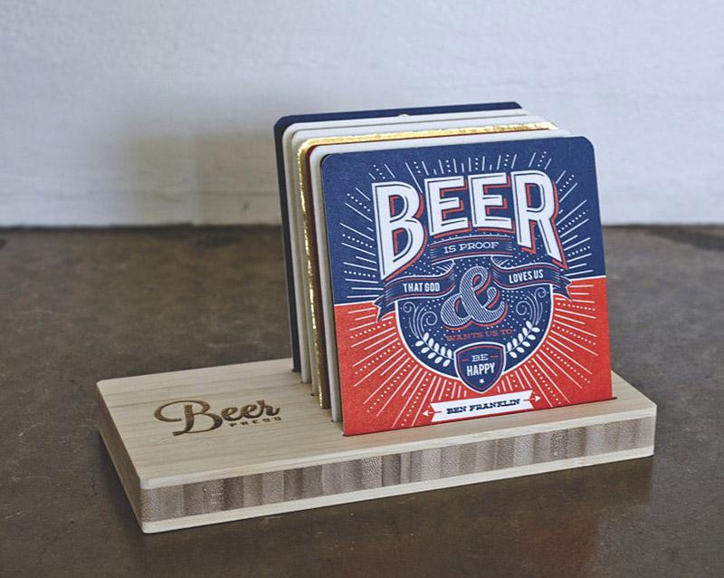 Letterpress Beer Quote Coasters