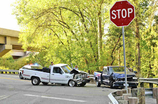 stop sign and car crash