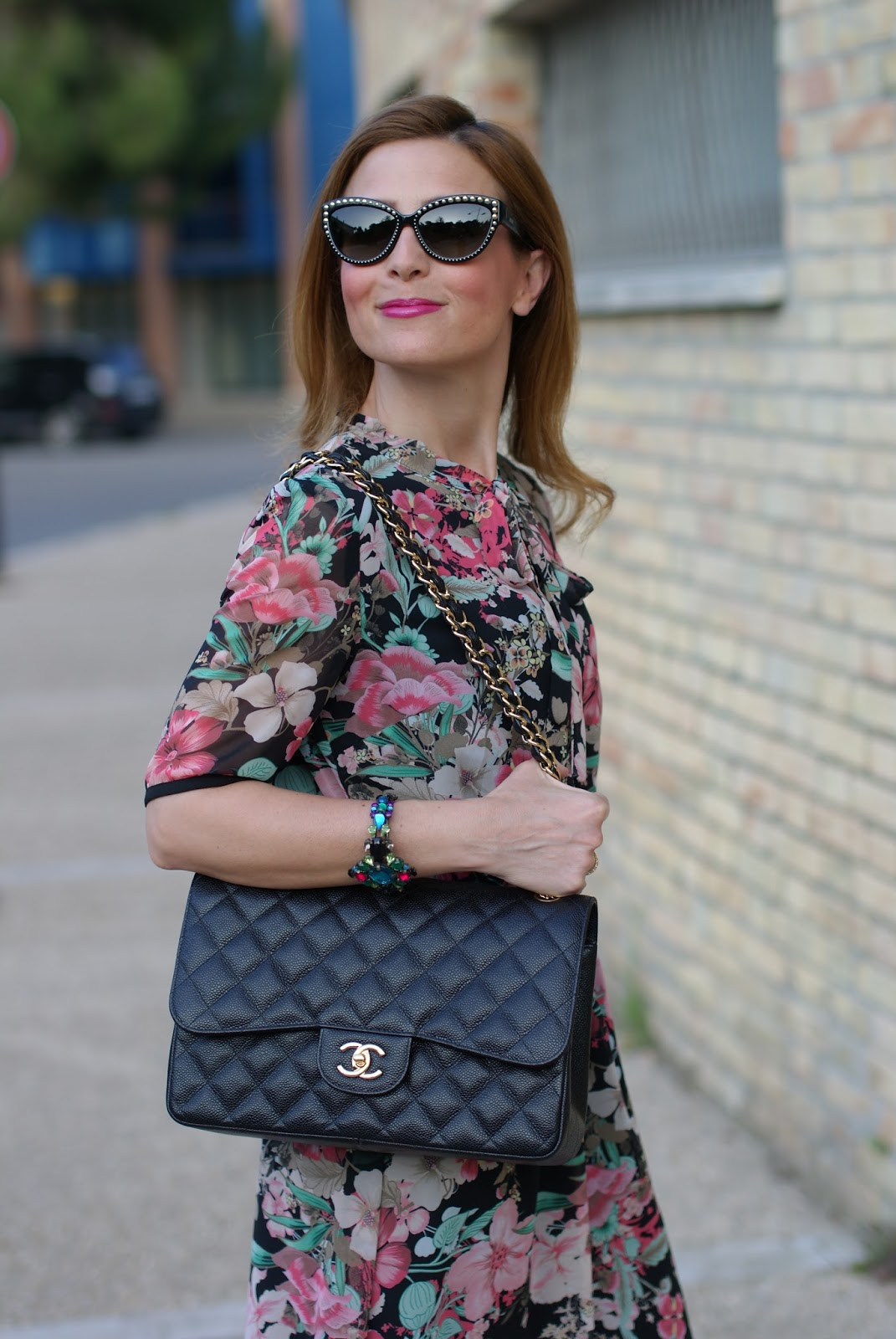 Floral bon ton dress with Chanel bag on Fashion and Cookies fashion blog, fashion blogger style