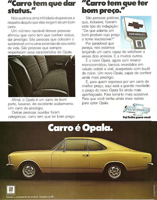 Propaganda antiga da Chevrolet no final dos anos 70 apresentando atributos do Opala
