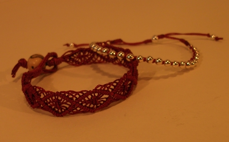 Woven bracelts with seed bead clasp.