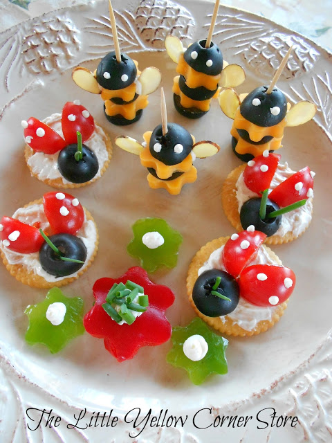Bee and ladybug appetizers