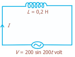 induktor 0,2 henry dipasang pada sumber tegangan arus bolak-balik