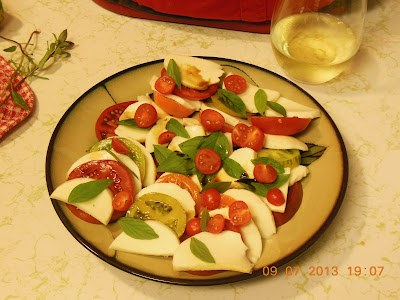 Tomatoes from the Garden Salad with Fresh Mozzarella. Sometimes the best salads, are the simplest.