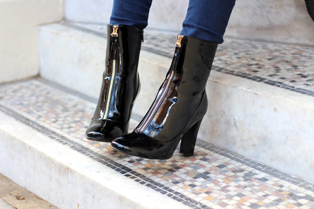 black patent boots from public desire worn by peexo fashion blogger