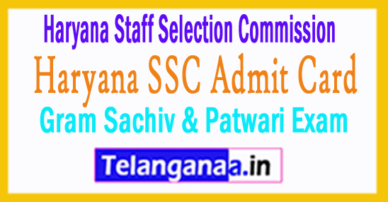 Haryana SSC Admit Card HSSC Sachiv / Patwari Admit Card