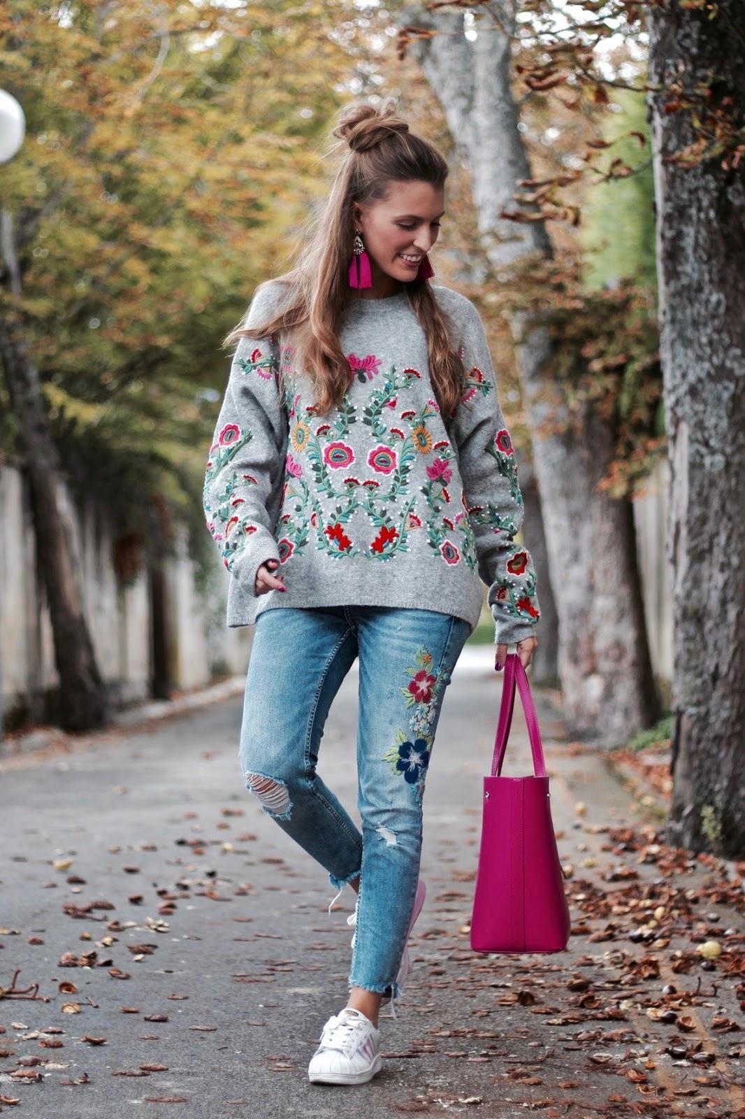 jersey flores bordadas zara