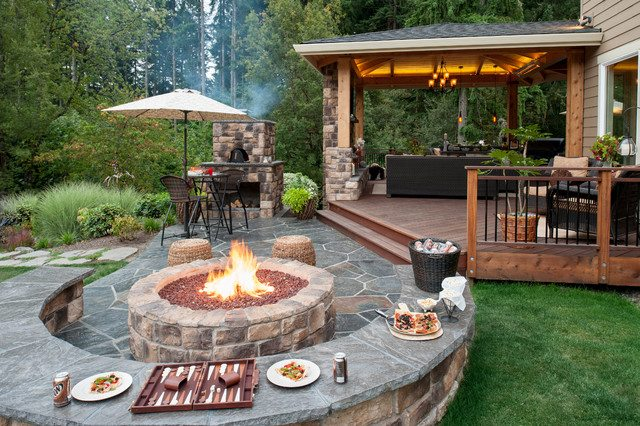 Practical Backyard Landscaping Ideas 2016 with fireplace