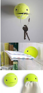 Cut up a tennis ball for a fun, quirky and cheap way to store your keys and letters
