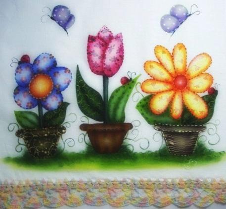 Pintura em tecido vasos de flores