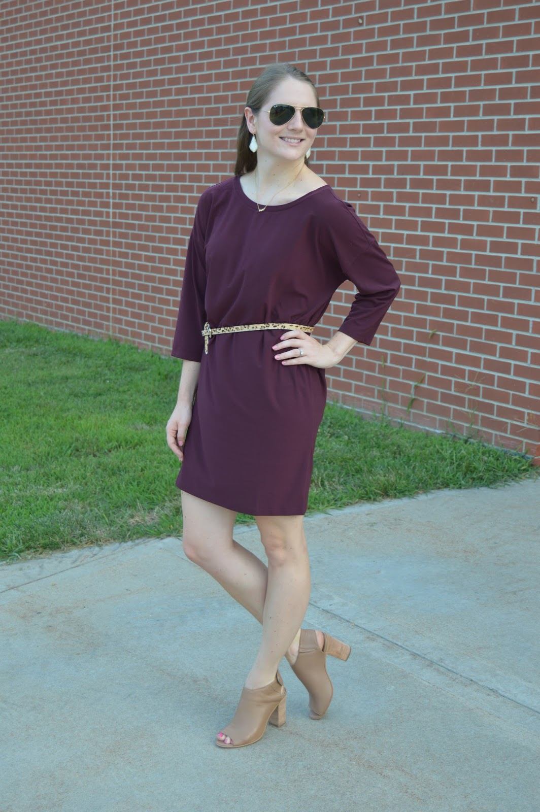 dress with a leopard belt | leith dolman dress review | maroon dress with a leopard belt | summer outfit ideas | what to wear on a date night this summer | a memory of us | #NSale haul and sizing review