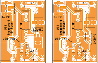 PCB for USB breadboard supply