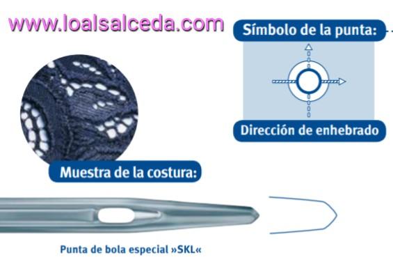 aguja SKL, aguja punta de bola SKL, aguja maquina de coser