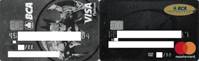 Kartu Kredit Visa Platinum (Kiri) Edisi Batman dan Kartu Debit Mastercard Platinum Edisi Prioritas (kanan) BCA