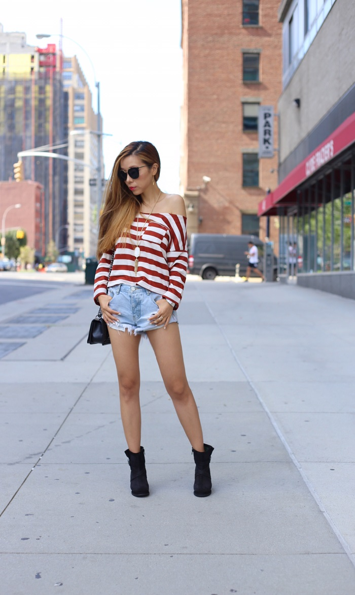 asos off shoulder stripe top sweatshirt, one teaspoon beauty bandit shorts, cat footwear boots, chanel boy bag, kendra scott necklace, kendra scott, gorjana earrings, t and j designs, prada sunglasses, nastygal sunglasses, nastygal do it better, fashion blog, new york fashion blog, street style, neiman marcus gift card event