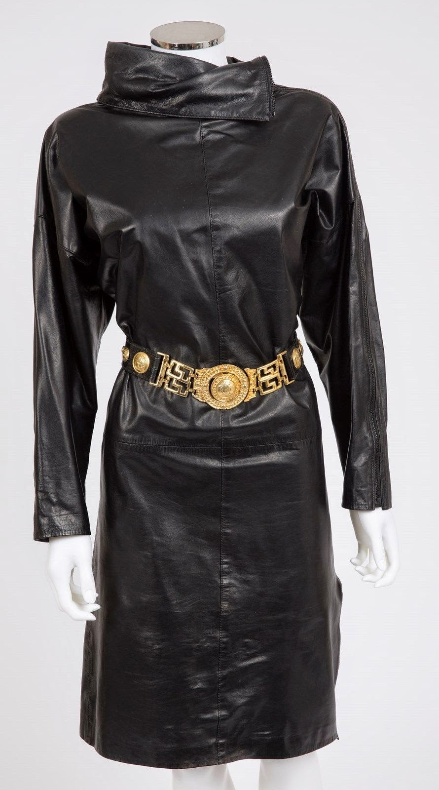 Ebay Leather Rare Cowl Style North Beach Leather Dress