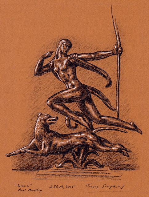 Diana. Goddess of the Hunt. Paul Manship. Isabella Stewart Gardner Museum. by Travis Simpkins