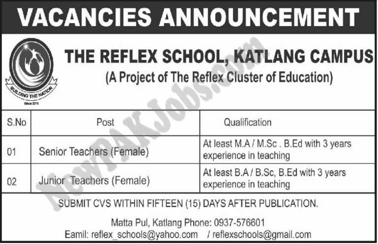Jobs in The Reflex School Katlang Campus Feb 2018