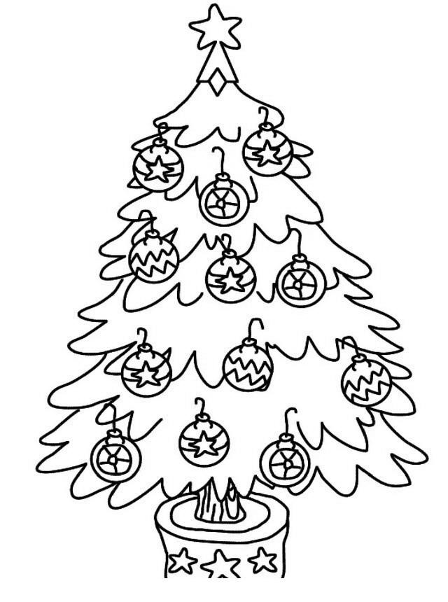 árbol Navideño Con Esferas Navideñas Para Colorear Y Pintar Dibujo