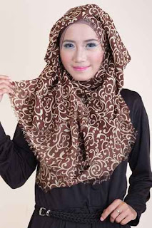 Shafeeya Kerudung Rawis Motif Auresya - Brown