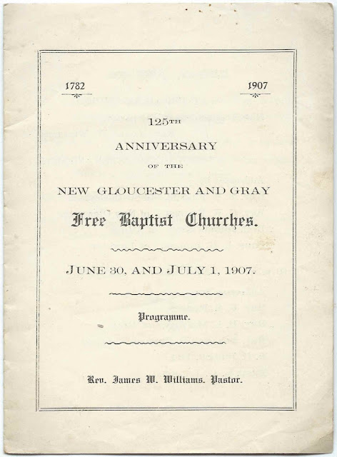 1907 Program for the 125th Anniversary of the Free Baptist Churches of New Gloucester, Maine, & Gray, Maine (1782-1907)