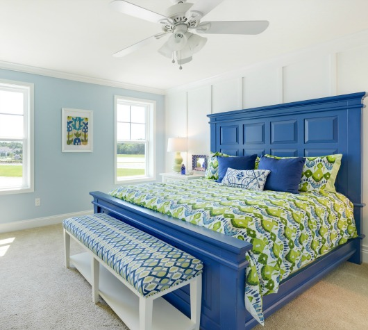 Pale Blue Painted Bedroom Accent Wall