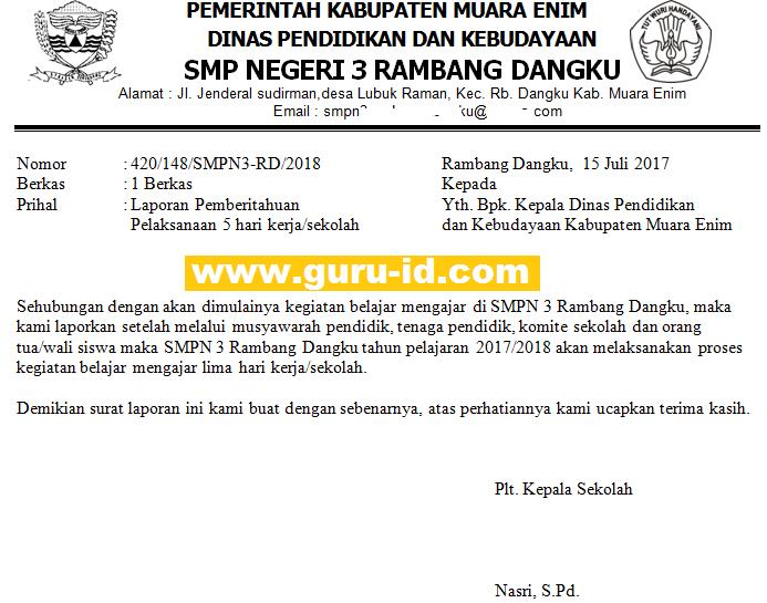 Contoh Surat Laporan Pelaksanaan 5 Hari Kerja Sekolah Info Pendidikan Terbaru