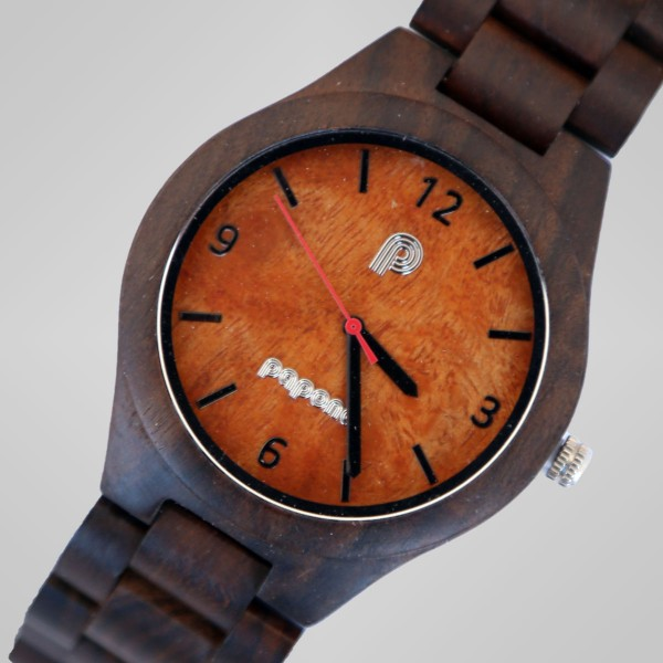 Get 38% discount on Papona Natural Wood Watch For Men - Dark Brown