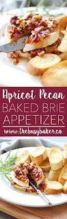 This Apricot Pecan Baked Brie Appetizer is SO easy and perfect for entertaining! Recipe from www.thebusybaker.ca