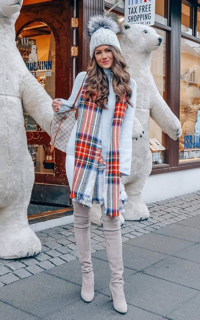 amazing outfit idea to copy this winter / plaid scarf + white sweater + bag + hat + skinnies + over knee boots