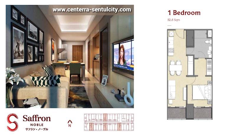 Saffron Noble Sentul City Apartment Bogor 1BR Type