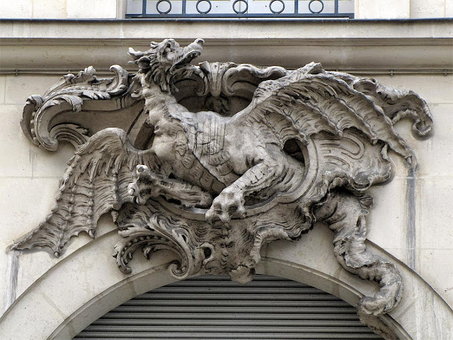 Copy of the bas-relief of the Dragon by Paul-Ambroise Slodtz, rue de Rennes, Paris