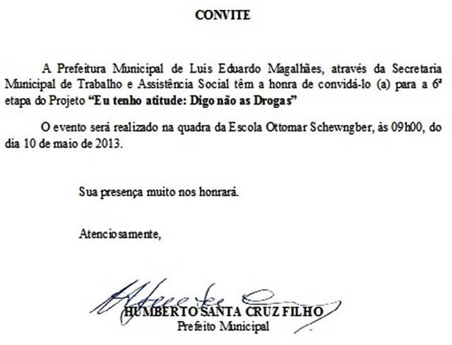 """Luís Eduardo: Convite """"Eu tenho atitude, digo não as drogas"""""""