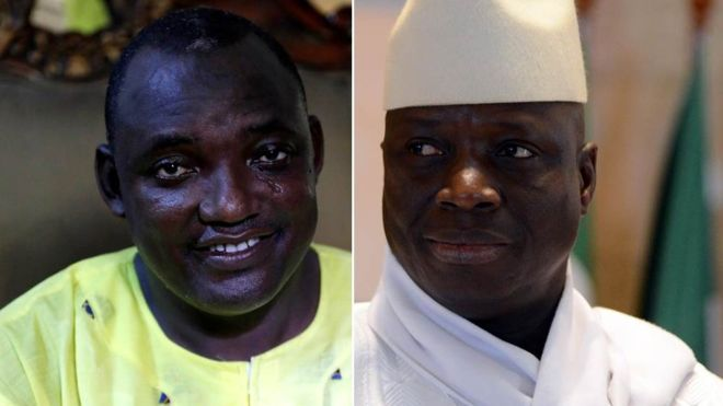 dama Barrow - left and  Yahya Jammeh right