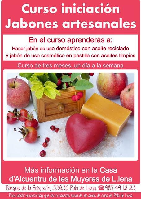 Cartel del curso de iniciación de jabones. Asturias