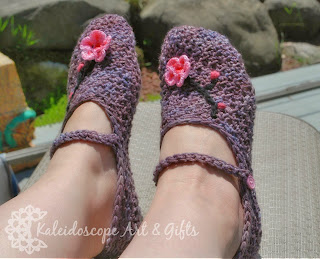 Charming Cherry Blossom Mary Jane Slippers ~ Kaleidoscope Art&Gifts
