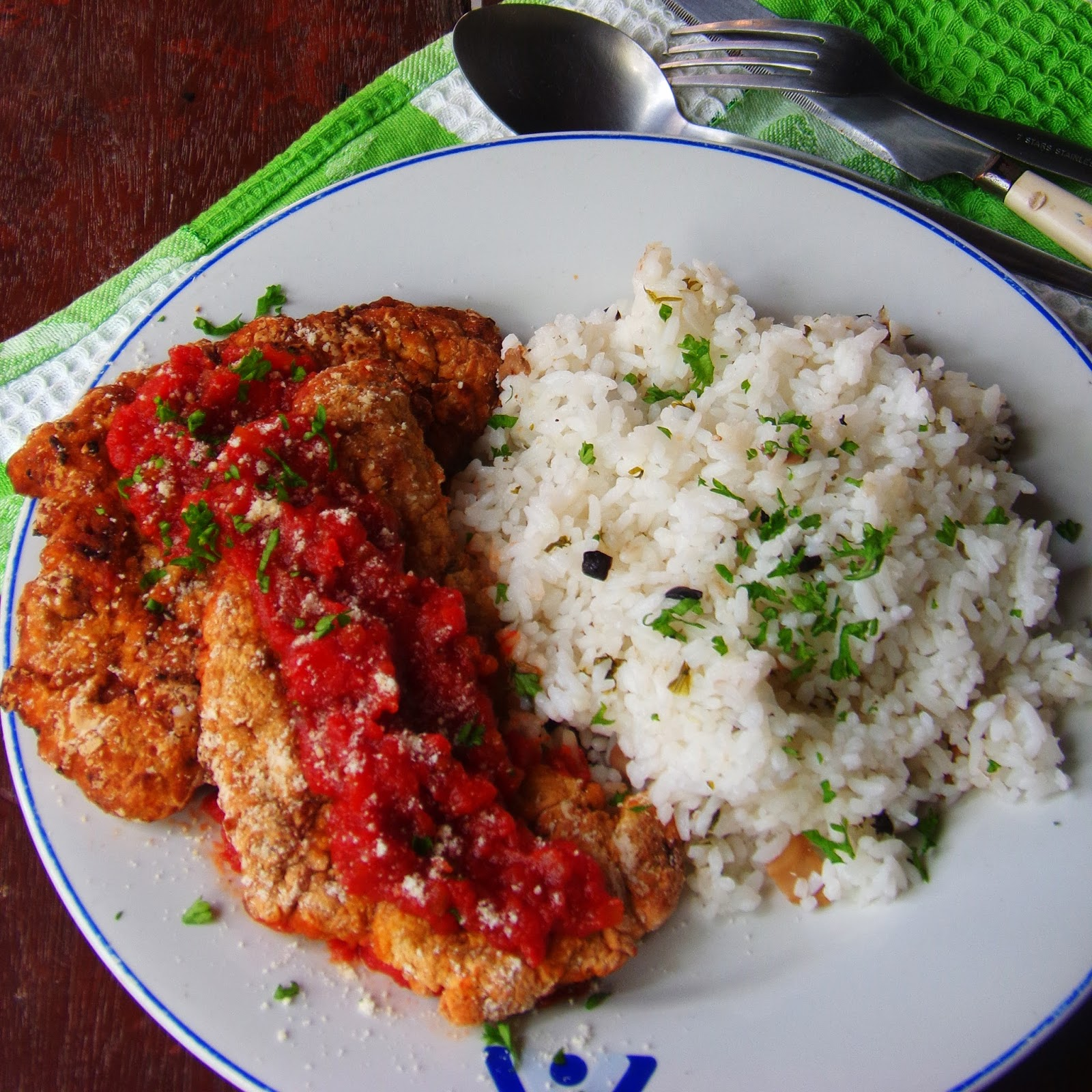 Italian Style Fried Chicken Breast and Steamed Rice -