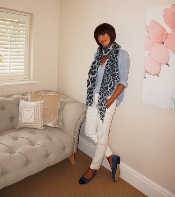 My Midlife Fashion, The Dressing Room Lily and Lionel Isla Cashmere leopard print scarf, zara cream cigarette trousers, h&m stripe oversized blouse, quilted ballet pumps