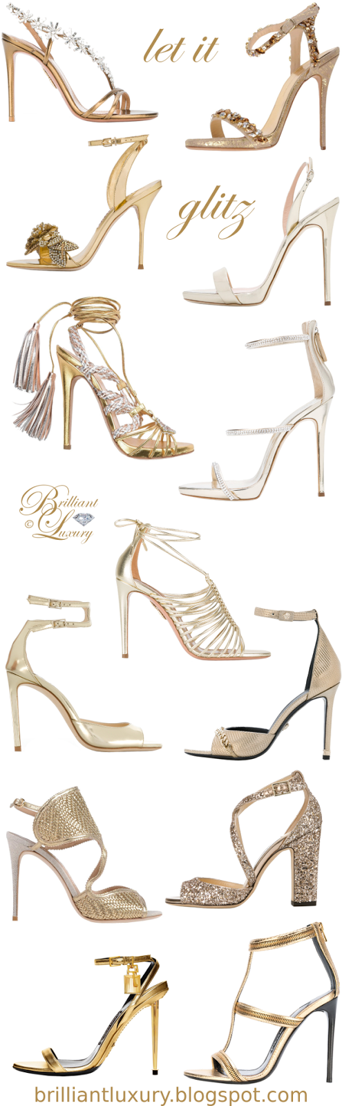 Brilliant Luxury ♦ let it glitz ~ sandals in GOLD