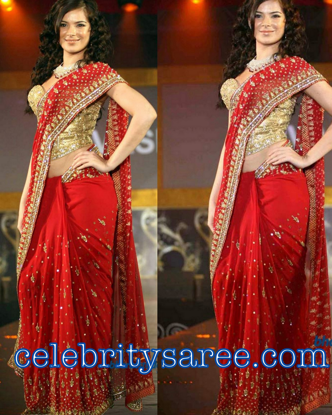 0599b975baa3c Urvashi Sharma in Red Embroidery Saree with Silk Designer Work Blouse