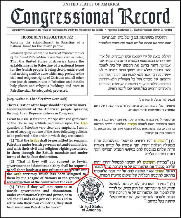 House Joint Resolution 322 US Congressional record 1922
