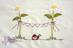Ladybug and Flowers Embroidery Pattern